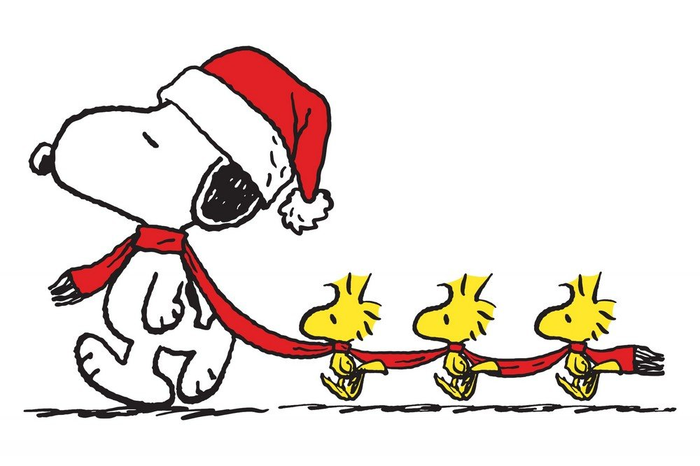 Peanuts PE-XMAS-18-C-36 'Snoopy Woodstock Scarf' Painting Print on Wrapped Canvas, 36'' X 24'' by Peanuts