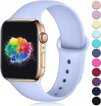 Imagen deYoumaofa Correa Compatible con Apple Watch 42mm 44mm, Correa de Silicona Repuesto Pulsera Deportivas para iWatch Series 5 Series 4 Series 3 Series 2 Series 1, 42mm/44mm M/L Lila