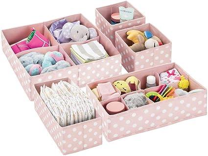 mDesign Juego de 4 Cajas de almacenaje para habitaci/ón Infantil o ba/ño Cesta organizadora Plegable a Lunares y con 2 Compartimentos Azul y Blanco Organizador de armarios en Fibra sint/ética