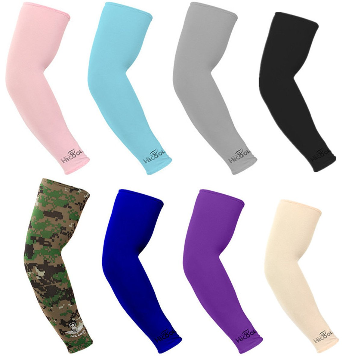 Kmool UV Protection, Compression & Cooling Arm Sleeves for Cycling/Golf/Basketball/Other Sports (8 pairs)