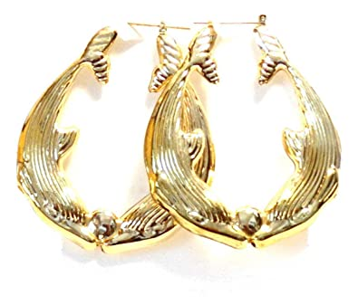 Dolphin Hoop Earrings Dolphins Kissing Hoops 2 Inch Earrings Gold Tone Hoop  Earrings  Amazon.co.uk  Jewellery ca42bb9263