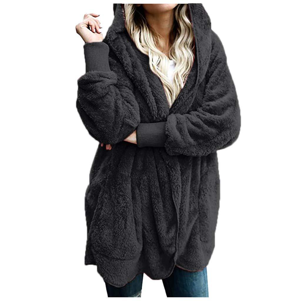 Kiminana Women's Long-Sleeved Plush Warm Cotton Cardigan Coat T-Shirt Comfy Casual Tops Robe Knitted Sweater Dark Gray by Kiminana