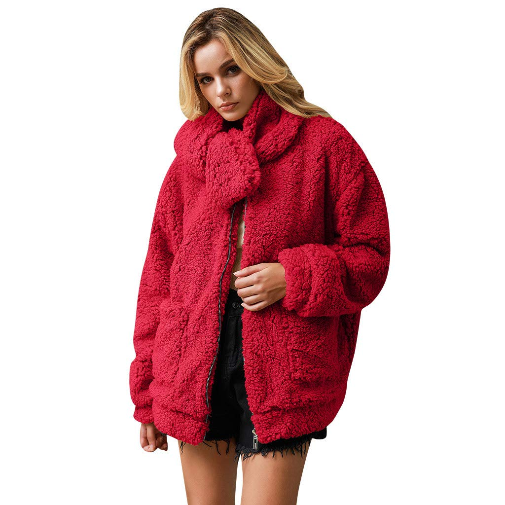 Shusuen Women's Coat Casual Fleece Fuzzy Faux Shearling Fluffy Jackets Winter Long Sleeve Zip Up Outwear with Pockets Red by Shusuen_Clothes