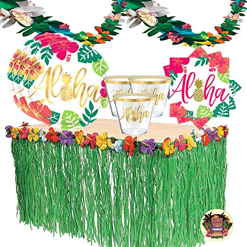 You Had Me at Aloha Luau Party Supplies Pack For 16 Guests With Aloha Summer Gold Metallic Pineapple Plates, Lunch Napkins, Tumbler Cups, Luau Grass Skirt, and Exclusive Tiki Pin By Another Dream]()