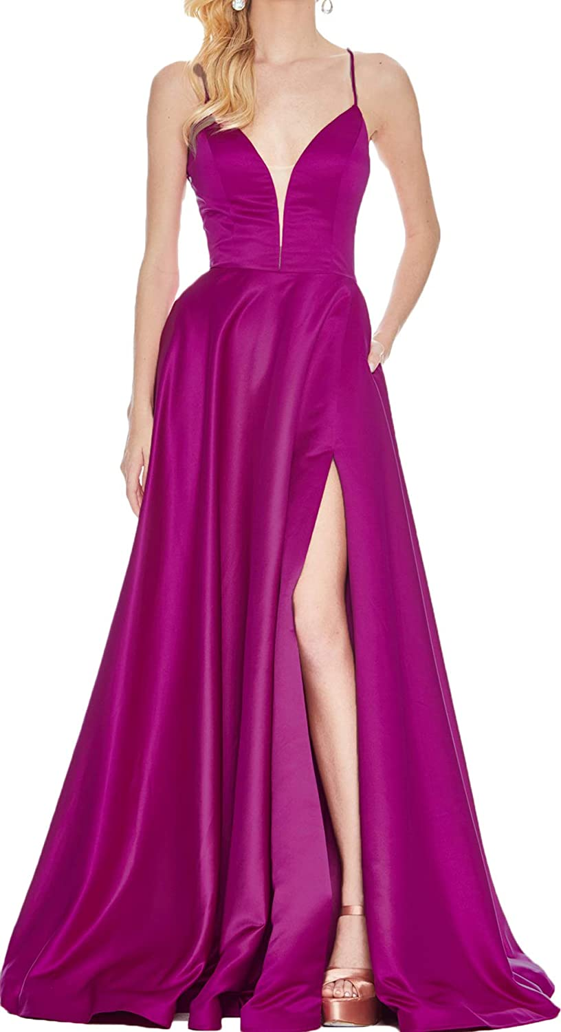 Fuchsia Rmaytiked Womens V Neck Spaghetti Strap Prom Dresses Long Side Slit Backless Formal Evening Ball Gowns with Pockets