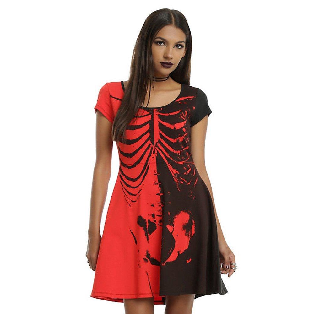 5d22e91e99 Wowforu Womens Printed Short Sleeve Black and Red Skull Mini Skater Dress  at Amazon Women s Clothing store