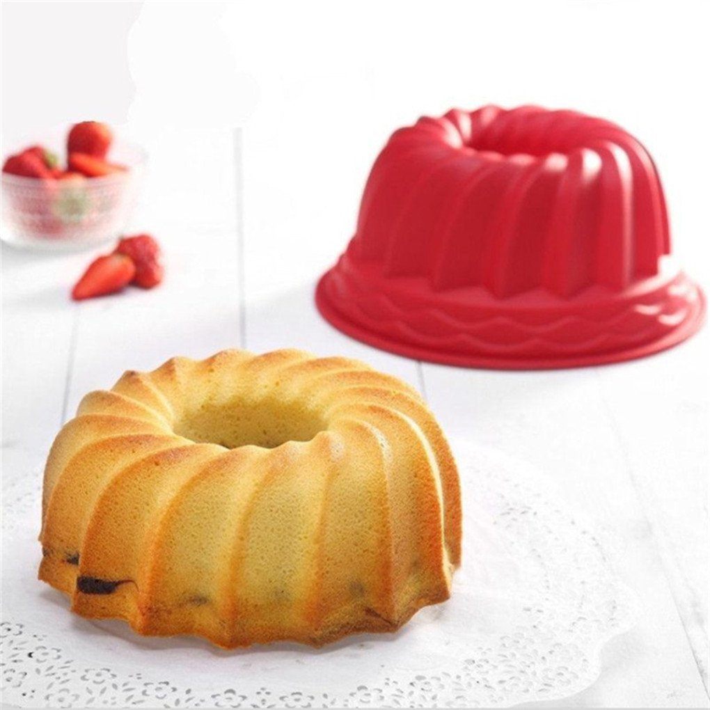 Bluelans Spiral Ring Cooking Silicone Mold Bakeware Kitchen Bread Cake Decorate Tool 2Pcs