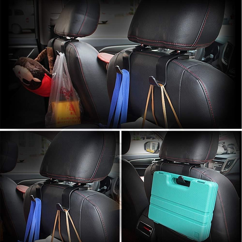 4 Packs K KARL Universal Black Car Seat Back Headrest Hanger Holder Hooks Folding for Purse,Cloth Grocery and Handbag