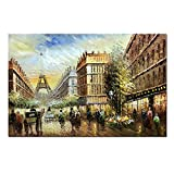 V-inspire Abstract Paintings, 24x36 Inch Paris Street View Cityscape Artwork Contemporary La Abstract Paintings Oil Hand Painting On Canvas Wood Inside Framed Ready to Hang Wall Decoration For Living