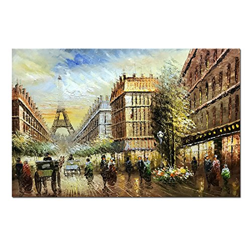 (V-inspire Abstract Paintings, 24x36 Inch Paris Street View Cityscape Artwork Contemporary La Abstract Paintings Oil Hand Painting On Canvas Wood Inside Framed Ready to Hang Wall Decoration for Living)