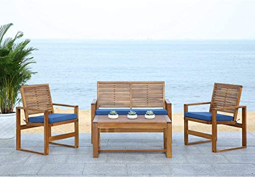 Safavieh Home Collection Hailey Outdoor Living 4-Piece Acacia Patio Furniture Set