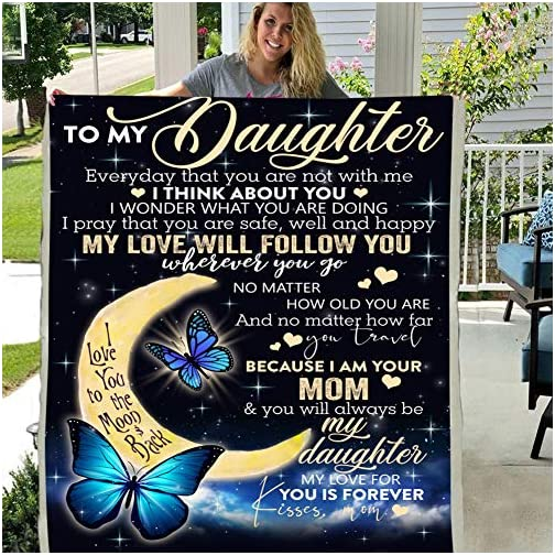 to My Daughter My Love Will Follow You Love Your MOM 3D Custom Fleece Photo Blanket Fan Gift (X-Large 80 X 60 INCH) |