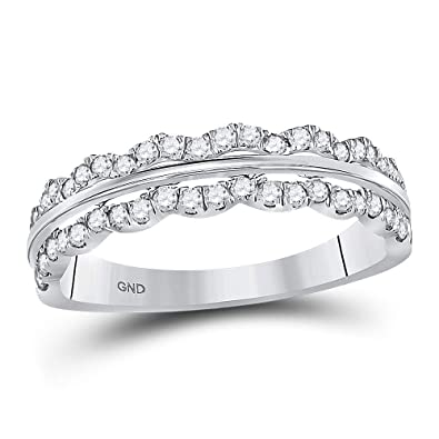 fdc6230928ed4 Image Unavailable. Image not available for. Color: Mia Diamonds 14kt White  Gold Womens Round Diamond Contoured Symmetrical Band Ring ...