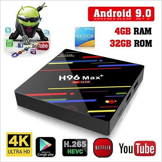 Modelo 2019] H96 MAX Android 9,0 TV Box 4GB + 32GB 4K Ultra HD Smart