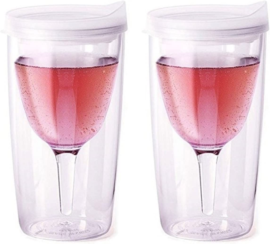 Merlot and Frost Pack of 2 Vino2Go Double Wall Insulated Acrylic Wine Tumbler