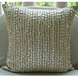 "Designer Ecru Pillow Shams, Allover Mother Of Pearls Pillow Shams, 24""x24"" Pillow Sham, Square Cotton Linen Shams, Contemporary Pillow Shams - Purely Pearls"