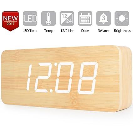 Extra grande Reloj Digital Despertador de Madera con Control de Sonido y LED Brillo de la
