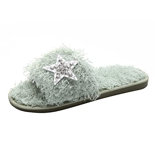 Rhinestone Bowknot Faux Fur Slip On Shoes - Green 38 cheap Manchester free shipping fake cheap sale wide range of discount 100% guaranteed zr5X3CQ6z