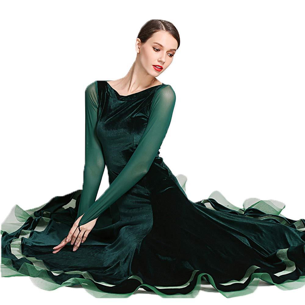 cf6350a16c19 Amazon.com: QSBY Ladies Girls Lyrical Dress Green Velvet Retro Contemporary  Ballet Modern Jazz Dance Leotards Ballroom Costume Large Size L XL XXL:  Sports & ...