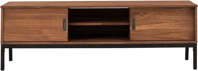 en pin Massif lasur/é Blanc IDIMEX Meuble TV Selma Banc t/él/é de 145 cm au Style Industriel Design Vintage avec 2 Portes coulissantes et 1 Compartiment Ouvert