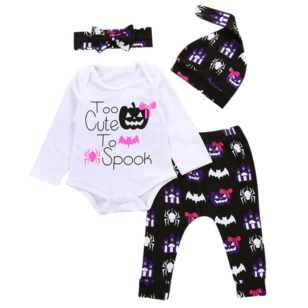 BOBORA Halloween Outfits Long Sleeve Letter Romper + Little Monsters Pants + Hat + Headband Baby Costume BON-N-1979ZM404