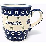 Polish Pottery Coffee Tea Mug 12 oz - traditional peacock design (Dziadek Grandpa)