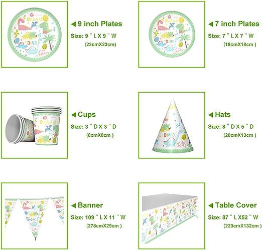 Amycute 76 Pezzi Articoli per Festa di Compleanno di 1 Anno a Tema del Dinosauro Bicchieri Includere Piatti di Carta USA e Getta Tovaglioli Forchette