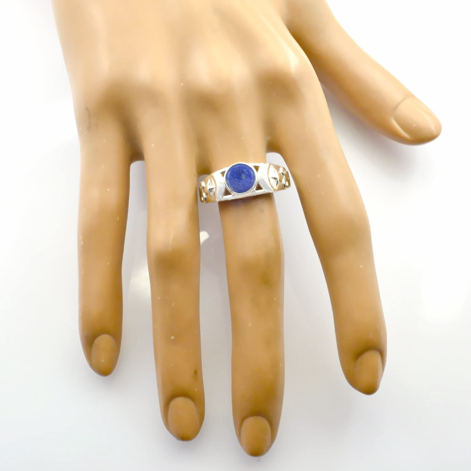 Faishon Jewelry Nice Item Gift for Friendship Day Great Ring Good Gemstones Round cabochon Lapis Lazuli Rings 925 Sterling Silver Blue Lapis Lazuli Good Gemstones Ring