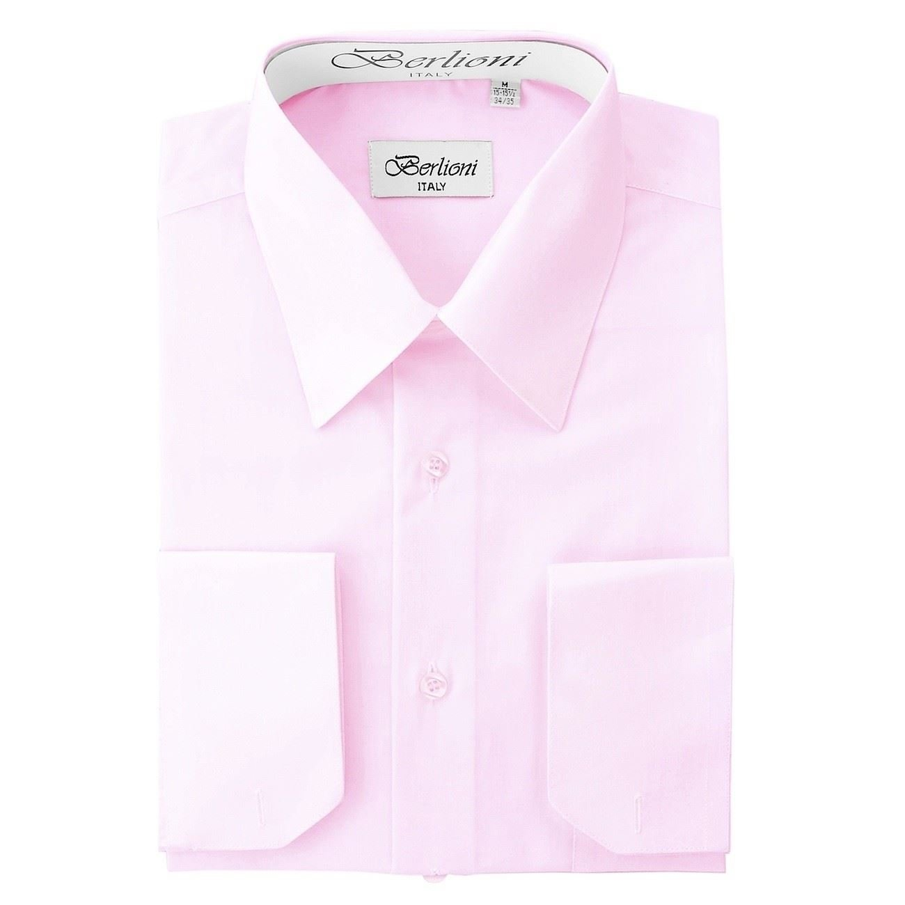 Berlioni Italy Mens Luxe Dress Shirt French Convertible Cuff Button Down Pink