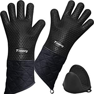 Timoey Grilling Gloves, Heat Resistant Gloves BBQ Kitchen Silicone Oven Mitts, Long Version Waterproof Non-Slip Potholder for Barbecue, Cooking, Baking + Anti-Hot Hand Clip (Black)