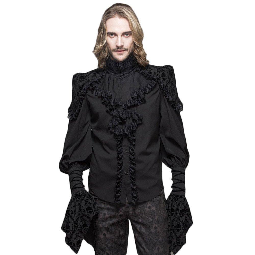 Devil Fashion Gothic Men Lace Blouses Victorian Double Layer Cuff Ruffle Black Shirts TT001