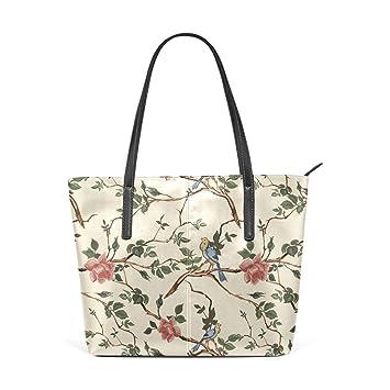 Amazon.com: Moda rosa con pájaros bolsos de cuero de la PU ...