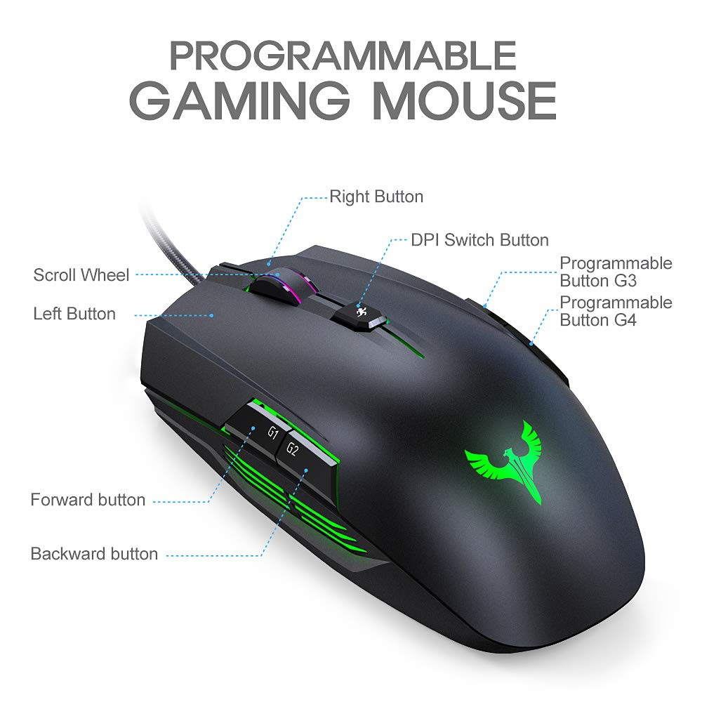 LED Backlight for Pro Gamer Win 10//8//7//XP Vista Mac OS/ 8 Buttons Gaming Mouse BLADE HAWKS Wired Gaming Mouse PC Computer 4000 DPI Adjustable