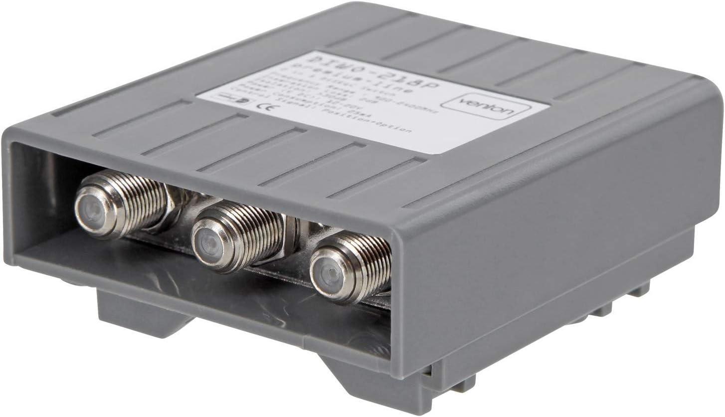 Venton Interruptor DiSEqC (Switch U de HD 2entradas 1salida Conmutador para LNB Señal con carcasa impermeable 2satélites 1participantes Receptor de satélite No múltiple de multikom