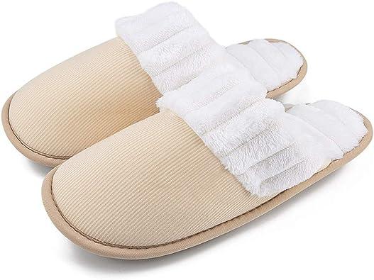 Womens Heart Print Slippers Fur Winter Warm Indoor Shoes Fleece Slip-On Flats US