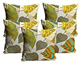 Mukesh Handicrafts Leaves Jute Fabric Cushion Cover Set Of 5 - Size (16X16 Inches)
