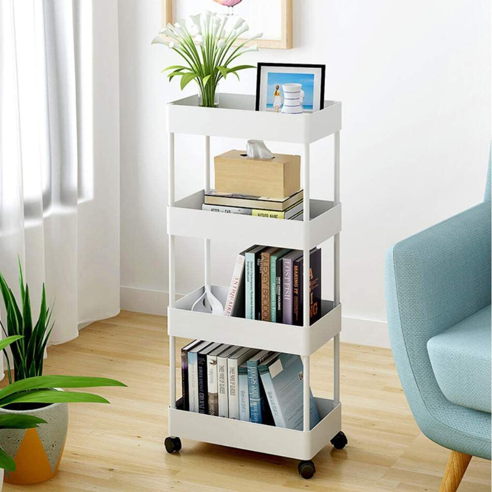 bigzzia Utility Cart, 4 Tier Slim Storage Cart Kitchen Bathroom Mobile Shelving with Moving Wheels Multifunction Organizer Trolley Mesh Basket Shelf for Office Library Narrow Places
