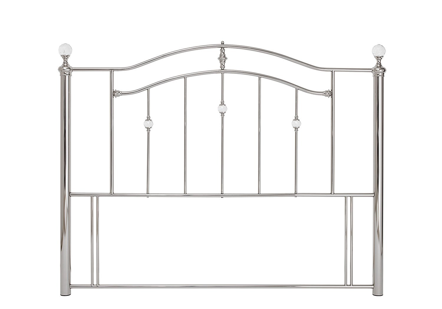 Save On Goods UK Silver nickel,Crystal gem ball tubular metal headboard bed head end.4ft small double, 4ft6, 5ft King, 6ft Super King (4ft Small double)