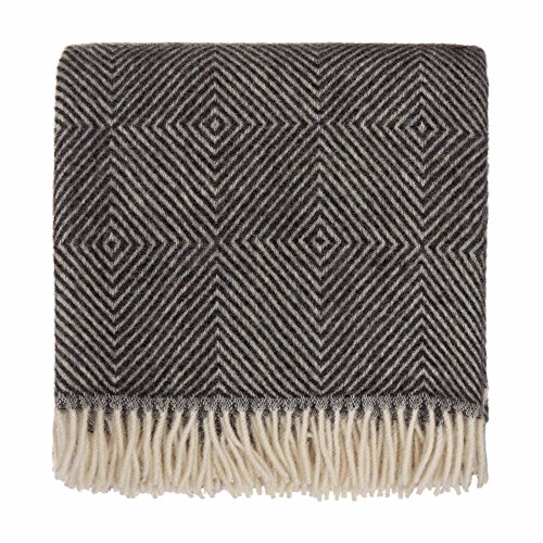 URBANARA 100% Pure Scandinavian Wool Throw Gotland 55x87 Black/Cream with Fringe - Virgin Wool Blanket with Decorative Diamond Weave Design - Perfect for Your Couch, Sofa, Bedroom, Twin Size Bed (Wool Cream Throw)