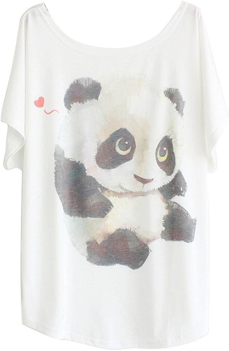 TALLA Tamaño S (tamaño 36 38). Luna et Margarita Camiseta Mujer Blanca Manga del Batwing patrón Cuello Redondo Mezcla de algodón tamaño 36 38 40 42 44 46