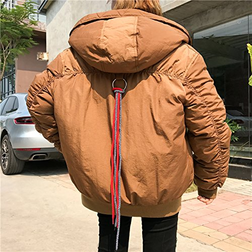 Xuanku Loose Simple Cotton Coat Jacket Female Autumn And Winter Wild Retro Bread-And-Cap Cotton Cotton Clothing Brown