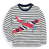KIDSALON Little Boys' Cotton Crewneck Long Sleeve Cartoon T-Shirt (18M, Fighter)