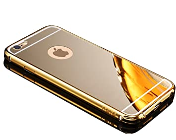 Carcasa para iPhone 6 Funda Sunroyal Aluminio Carcasa iphone 6s Oro Metal Mirror Bumper phone Dorado case Hard Cover with Frame caja del teléfono ...