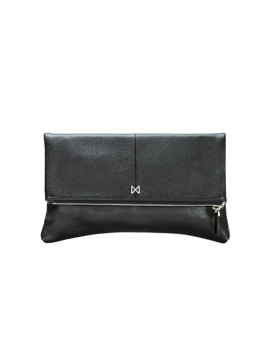 ESOTERIC Pebble Leather Pop of Color Foldover-Style Clutch by MOFE