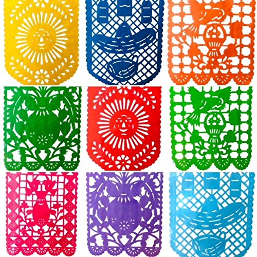 Mexican Fiesta Papel Picado Banners-Classic Vertical Large (16 feet) Rainbow Plastic Garland ()