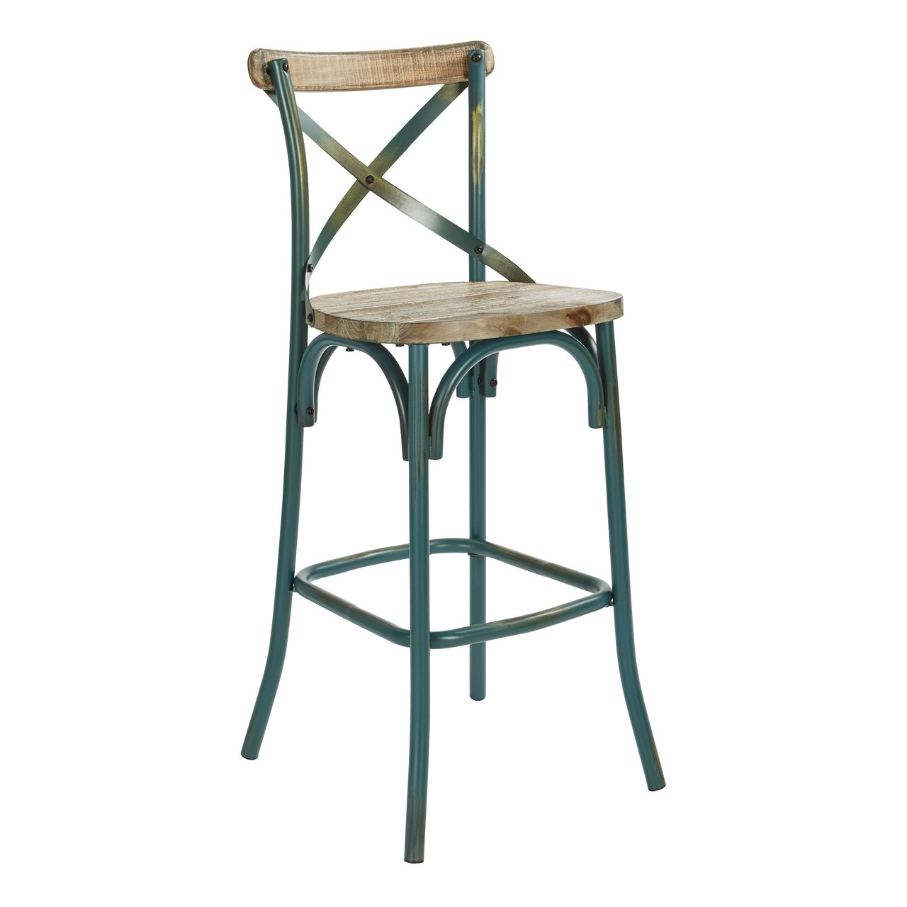 OSP Designs Somerset 30'' Rustic Bar Stool With Back In Antique Tourquoise K/D