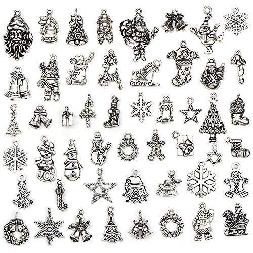 (EORTA 50 Pieces Christmas Pendants Charms Mixed Silver Plated Pendants DIY Hanging Ornament, for Necklace Bracelet Jewelry Making, Art Crafting and Bags Decoration)