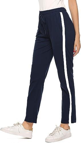 Hawiton Pantalones Deportivos para Mujer 100% Algodón Pantalón de Chándal con Bolsillos para Gimnasio Deportes Correr Entrenamiento Jogging Pantalones de Pijama Largos de Rayas: Amazon.es: Ropa y accesorios