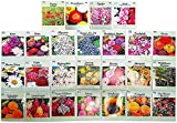 Set of 25 Flower Seed Packets Including 10 Or More Varieties Forget Me Nots, Pinks, Marigolds, Zinnia, Wildflower, Poppy, Snapdragon and More