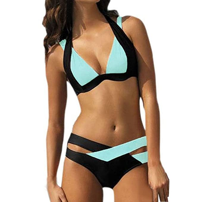 7d110a0f87c4 Damark(TM) Bañador de Mujer, Bañadores Mujer Trajes de baño Mujer Dos  Piezas Sujetador Push-up Acolchado Ropa De Baño Bohemia Bikinis Bañador  Swimwear: ...